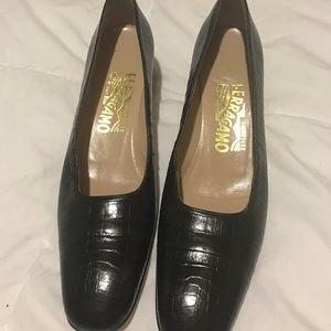 Ferragamo croc brown shoes